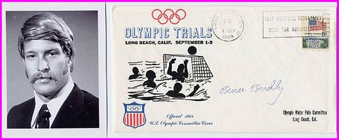 1972 Munich Water Polo Bronze BRUCE BRADLEY Hand Signed Cover 1968 & Pict