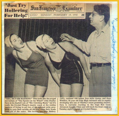 Legendary San Francisco Crystal Plunge Swim Coach CHARLIE SAVA Autograph 1950