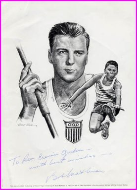 1948 & 1952 Decathlon Gold BOB MATHIAS Hand Signed Illustration from 1967