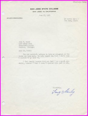 1953 NCAA 880 Champion LANG STANLEY Typed Letter Signed 1956