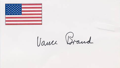 Apollo - Soyuz Astronaut VANCE BRAND Hand Signed Card from 1995