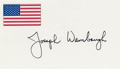 American Writer JOSEPH WAMBAUGH Hand Signed Card from 1996