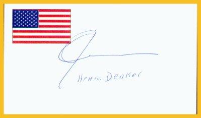 Novelist & Playwright HENRY DENKER Hand Signed Card from 1995