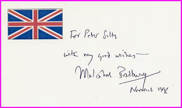 The History Man Author MALCOLM BRADBURY Autograph Note Signed 1996
