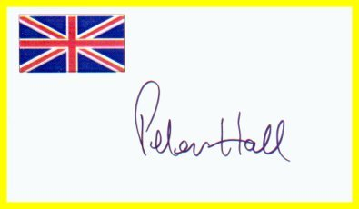 Famous Theatre & Film Director PETER HALL Hand Signed Card