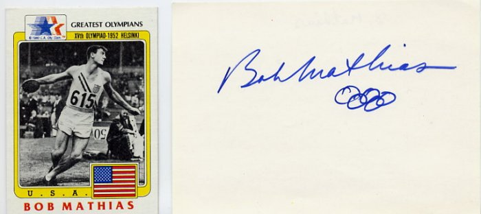 1948-1952 Decathlon Gold BOB MATHIAS Autograph & Olympic Card