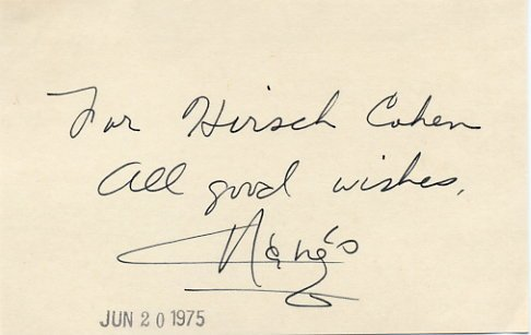Actress & Dancer MARGO Hand Signed Card 1975