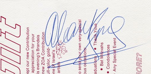 American Comedian ALAN KING Autograph from 1989