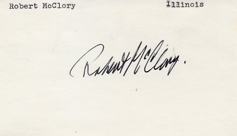 U.S. Representative from Illinois ROBERT Mc CLORY Hand Signed Card