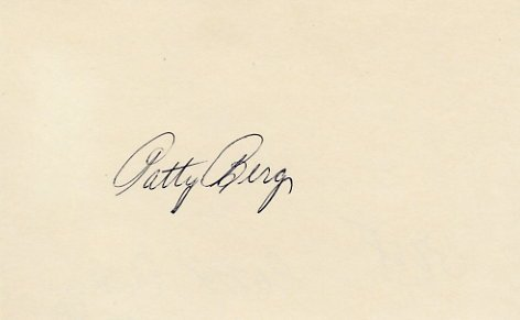Golf Great PATTY BERG Hand Signed Card from 1978