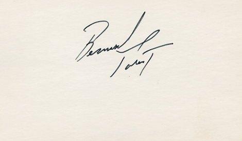 Ice Hockey HOF BERNARD PARENT Hand Signed Card 1970s