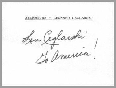 1952 Oslo Ice Hockey Silver LEONARD CEGLARSKI Hand Signed Card