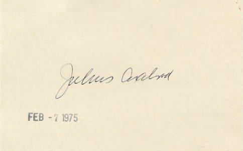 1970 Nobel Medicine JULIUS AXELROD Autographed Card 1975
