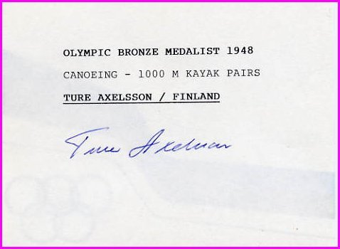 1948 London Canoeing Bronze THOR AXELSSON Hand Signed Card