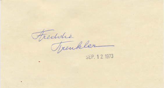 Comic Ice Skater FREDDIE TRENKLER Hand Signed Card 1973