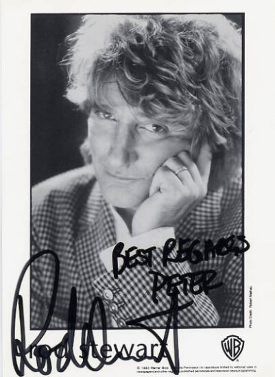 Rock Legend ROD STEWART Hand Signed Photo 4x6 from 1994
