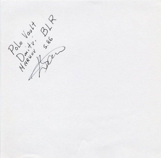 Pole Vault Olympian & 2001 World Champion DMITRI MARKOV Autograph 1996