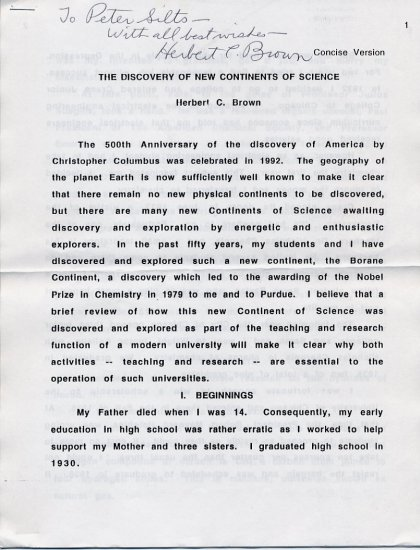 1979 Nobel Chemistry HERBERT BROWN Hand Signed Article 1994