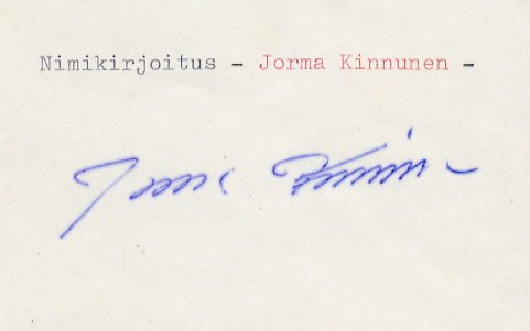 1968 Mexico City Javelin Silver & WR JORMA KINNUNEN Autograph