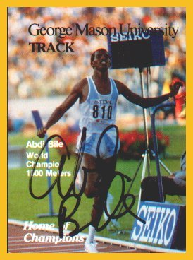 Three-time Olympian & 1987 1500m World Champion ABDI BILE Hand Signed Card 1988