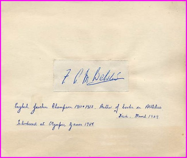 1911 English Javelin Champion, Olympic Coach & Author F. A. M. WEBSTER Autograph
