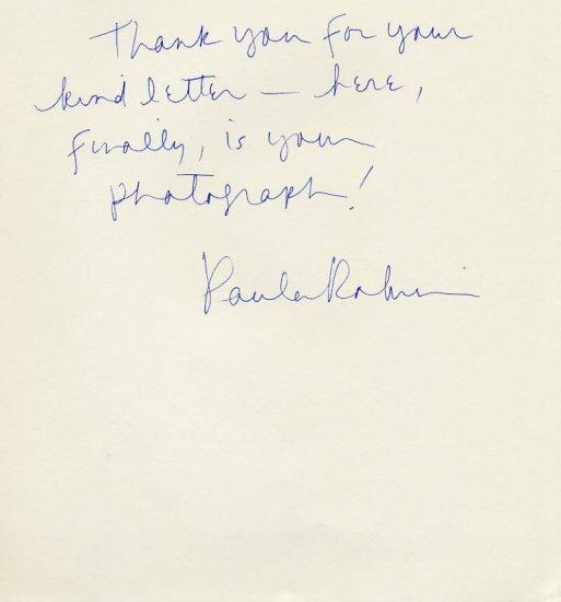American Flutist PAULA ROBISON Autograph Note Signed
