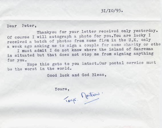 Victoria Cross GERARD ROSS NORTON Typed Letter Signed 1995