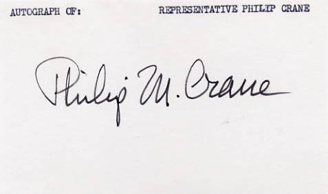 American Politician 1980 Pres Cand PHILIP M. CRANE Hand Signed Card 1970s