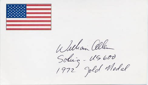 1972 Munich Yachting Gold WILLIAM ALLEN Hand Signed Card