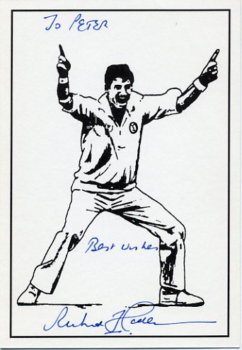 New Zealand Cricket Legend RICHARD HADLEE Hand Signed Postcard
