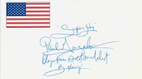1984 Los Angeles Boxing Gold PAUL GONZALES Hand Signed Card