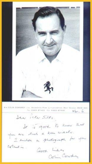 Former England Cricket Captain COLIN COWDREY Autograph Note Signed 1994 & Postcard