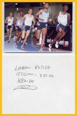 World-Class Miler & 1500m Olympian LABAN ROTICH Autograph 1996 & Photo