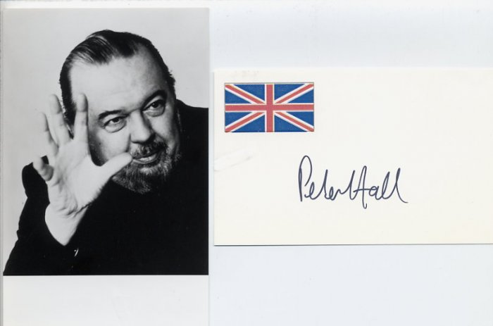 English Theatre & Film Director PETER HALL Hand Signed Card & Photo
