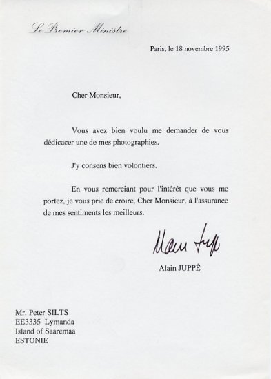 1995-97 Prime Minister of France ALAIN JUPPE Typed Letter Signed 1995