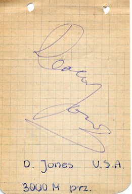 1956-1960 3000m Steeplechase Olympian DEACON JONES Autograph 1960s