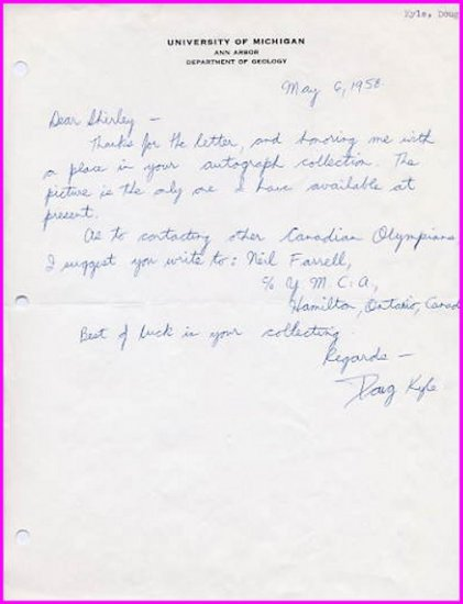 1950s Canadian Distance Runner DOUG KYLE Autograph Letter Signed 1958
