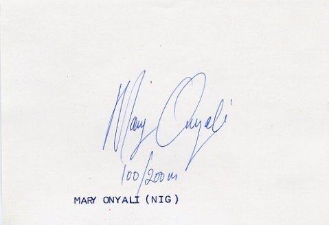 1992 Barcelona & 1996 Atlanta Sprints Medalist MARY ONYALI Autograph