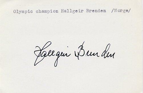 1952 Oslo & 1956 Cortina Cross-country Skiing Gold HALLGEIR BRENDEN Autograph 1980