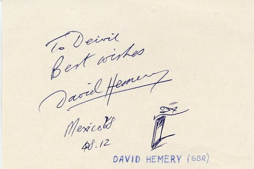 1968 Mexico City 400m Hurdles Gold & WR DAVID HEMERY Autograph & Sketch