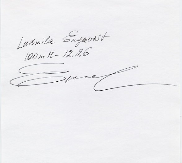 1996 Atlanta 100m Hurdles Gold LUDMILA ENGQUIST Autograph 1996