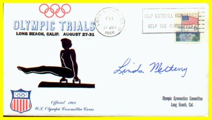 1964-68-72 Gymnastics Olympian LINDA METHENY Autographed Cover 1968