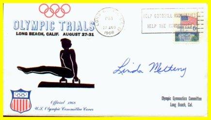 1964-68-72 Gymnastics Olympian LINDA METHENY Autographed Cover 1968