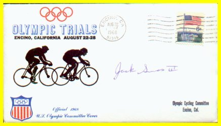 1960-64-68 Cycling Olympian JACK SIMES Autographed Cover 1968