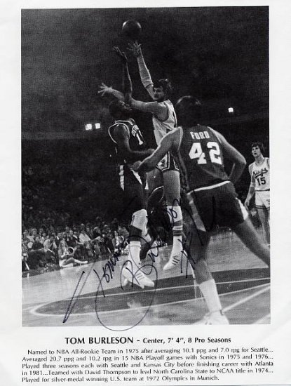 1972 Munich Basketball Silver TOMMY BURLESON Hand Signed Photo 8,5x11
