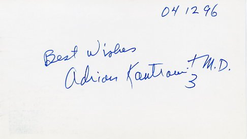Heart Transplant Pioneer Dr. ADRIAN KANTROWITZ Autographed Card 1996