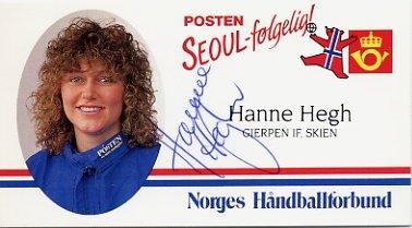 1988 Seoul Handball Silver HANNE HEGH Hand Signed Card