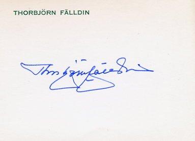 Former Prime Minister of Sweden THORBJORN FALLDIN  Hand Signed Card