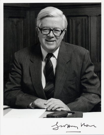 British Politician GEOFFREY HOWE  Hand Signed Photo