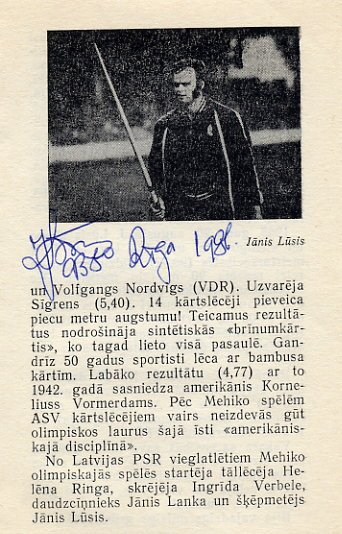 1968 Mexico City Javelin Gold JANIS LUSIS Autograph 1986